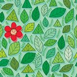 Leaf all green one red flower seamless pattern. This illustration is design abstract many green one red in seamless pattern royalty free illustration