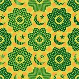 Ramadan element cut flower circle seamless pattern. This illustration is design abstract Ramadan element with flower and circle style, decoration with crescent Stock Photography