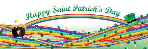 Shamrock rainbow line St. Patrick`s Day banner Stock Images