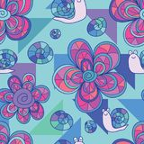 Flower snail triangle seamless pattern stock illustration