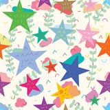 Star drawing natural seamless pattern. This illustration is design abstract star free sleeping at flower background seamless pattern, big land is star home stock illustration