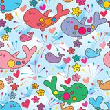 Whale like airplane flower smile seamless pattern. This illustration is design abstract whale like airplane fly with decoration smile flowers, loves and colorful Stock Photos