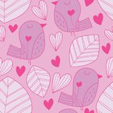 Bird leaf big pastel color seamless pattern. This illustration is design bird and leaf with big style in pastel pink theme color decoration with love in seamless Royalty Free Stock Photos