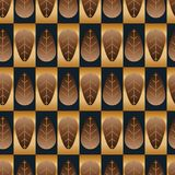 Leaf symmetry golden brown blue seamless pattern Stock Images