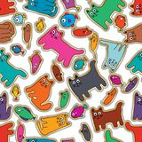 Cat mouse fish colorful rotate sticker seamless pattern stock illustration