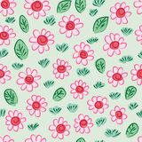 Chinese ink flower leaf grass many seamless pattern vector illustration