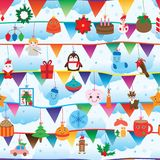 Christmas day flag horizontal hang seamless pattern. This illustration is design Christmas day with flag horizontal in seamless pattern and cloud sky background Royalty Free Stock Photography