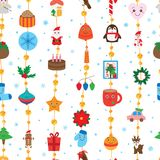 Christmas day hang many line gold glitter seamless pattern. This illustration is design Christmas with line vertical and decoration circle golden glitter, blue Stock Photography
