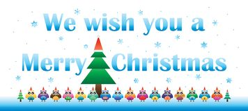 Christmas owl wish you a banner. This illustration is design Christmas owl wish you a Merry Christmas banner on blue and white colors background banner royalty free illustration