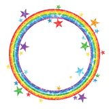 Rainbow glitter circle star decor effect. This illustration is design circle with rainbow glitter colors and decoration stars on white color background bright Stock Photos