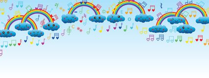 Cloud rainbow love music note banner Royalty Free Stock Images