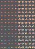 Clownfish colorful sticker set. This illustration is design clowdfish colorful and sticker set in isolated object and grey color background Stock Photography