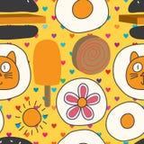 2d cat 3d food mix crazy seamless pattern vector illustration