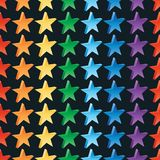 3d star rainbow color seamless pattern. This illustration is design 3d star with rainbow color symmetry in dark background seamless pattern royalty free illustration