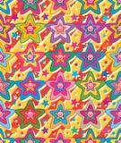 Star flower cute face symmetry diagonal seamless pattern Royalty Free Stock Photos