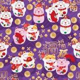 Meneki Neko fat Fu japanese group diamond shape purple seamless pattern Royalty Free Stock Photo