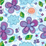 Butterfly smile flower smile seamless pattern. This illustration is design and drawing abstract butterfly, flower, sun and cloud smile with decoration natural in Stock Image
