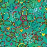 Flower mandala decor green color seamless pattern Royalty Free Stock Photos