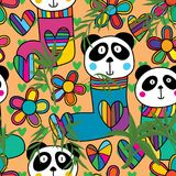 Panda head stocking flower bamboo seamless pattern. This illustration is design and drawing abstract panda head wear stocking with decoration flowers. loves and stock illustration
