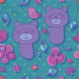 Bear cat flower cute seamless pattern. This illustration is design and drawing bear cat with bird in flower decoration cute in seamless pattern and don`t know Royalty Free Stock Images