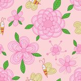 Bee flower colorful pastel seamless pattern. This illustration is design and drawing bee and flower in pink color background with pastel seamless pattern Stock Photography