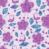 Bird flower love decor seamless pattern purple theme. This illustration is design and drawing bird  with flower and loves decoration in seamless pattern purple Stock Image
