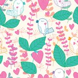Bird stand leaf pastel color seamless pattern. This illustration is design and drawing bird stand leaf in pastel colors seamless pattern background Royalty Free Stock Image