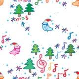 Bird Xmas music note space white seamless pattern stock illustration