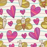Butterfly bee love dotted line horizontal seamless pattern. This illustration is design and drawing butterfly and bee  with love decoration and dotted line Royalty Free Stock Image