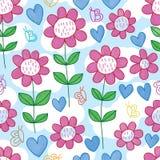 Butterfly line flower love watercolor seamless pattern royalty free illustration