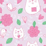 Cat bird flower pastel seamless pattern. This illustration is design and drawing cat, bird, flower, leaves and loves in pastel color silhouette plant seamless Stock Photography