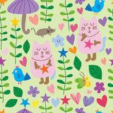 Cat butterfly star plant seamless pattern. This illustration is design and drawing cat, butterfly, mouse and bird with star plants, leaves, loves umbrella and royalty free illustration