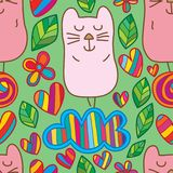 Cat cute smile stand leaf love seamless pattern. This illustration is design and drawing cat cute smile stand at cloud and snail ball with decoration leaves Stock Image