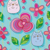 Cat flower line style line seamless pattern. This illustration is design and drawing cat flower line with yellow style line in seamless pattern Royalty Free Stock Photos