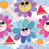 Cat sun watermelon summer pastel color seamless pattern. This illustration is design and drawing cat with sunglasses, sun and watermelon in abstract summer in Royalty Free Stock Photos