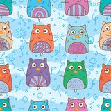 Owl hand wing celebration seamless pattern. This illustration is design and drawing celebration owl in sky cloud background seamless pattern Royalty Free Stock Photography