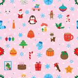 Christmas free around seamless pattern. This illustration is design and drawing Christmas elements abstract feel free with pink love symmetry background in Stock Photos