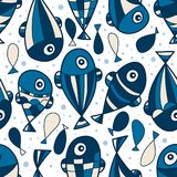 Fish style vertical seamless pattern Royalty Free Stock Image