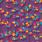 Flower colorful style vertical seamless pattern. This illustration is design and drawing flower colorful style vertical in purple color background seamless Royalty Free Stock Image