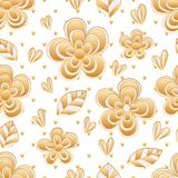 Flower leaf plant golden color seamless pattern. This illustration is design and drawing flower leaf plant with golden color seamless pattern background Royalty Free Stock Photography