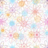 Flower mandala line ray colorful seamless pattern Royalty Free Stock Photos