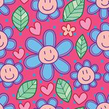 Flower smile cartoon leaf seamless pattern. This illustration is design and drawing flower smile cartoon with leaf in pink color seamless pattern Stock Photos