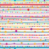 Horizonal lines dot colorful gold glitter seamless pattern. This illustration is design and drawing horizonal lines with dot colorful and gold glitter decoration Royalty Free Illustration