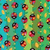 Ladybug colorful vertical line gold glitter seamless pattern Vector Illustration