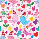Love bird singing love song seamless pattern. This illustration is design and drawing love bird singing love song with dancing love and natural in pink color Royalty Free Stock Image