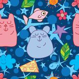 Mouse fish cat dream seamless pattern. This illustration is design and drawing mouse and fish, abstract cat zen in blue color background background seamless Royalty Free Stock Photo