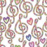 Music love many color watercolor seamless pattern royalty free illustration