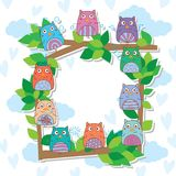 Owl hand wing celebration tree frame. This illustration is design and drawing owl celebration with twig tree frame in sky and love background Royalty Free Stock Images