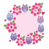 Owl flower leaf silly cute frame circle. This illustration is design and drawing owl flower leaf with silly style cute in circle frame on white color background royalty free illustration