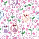 Owl flower watercolor no complete seamless pattern. This illustration is design and drawing owl flower watercolor abstract no complete style how know what is royalty free illustration